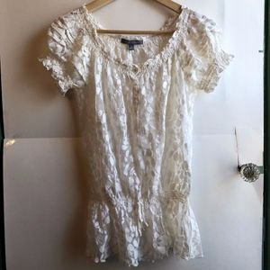 NY COLLECTION White Floral Mesh Drop Waist Blouse